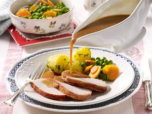 Kotelettbraten mit Weißwein-Sahne-Soße Rezept