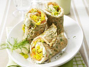Kräuter-Buchweizen-Wraps mit geräuchertem Lachs Rezept