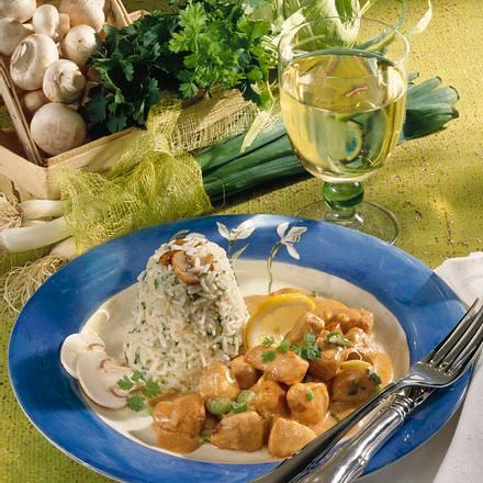 Kräuter-Champignon-Reis mit Puten-Paprika-Rahm Rezept