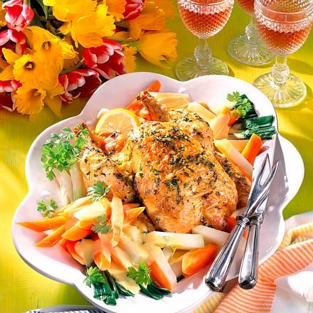 Kräuter-Hähnchen mit jungem Gemüse Rezept