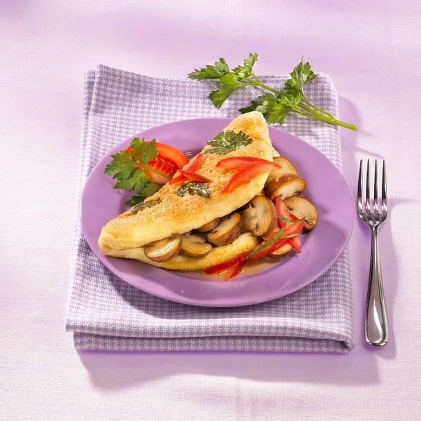 Kräuter-Omelett mit Pilzen und Tomaten Rezept