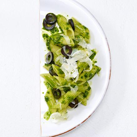 Kräuter-Penne mit Oliven (Trennkost, Kohlenhydrate) Rezept