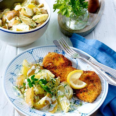 Kräuter-Rahmkartoffeln zu Schnitzeln Rezept