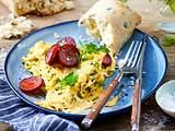 Kräuter-Rührei mit Kabanossi Rezept