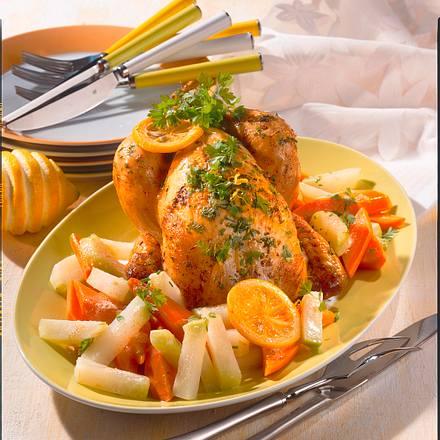 Kräuter-Zitronen-Hähnchen auf Kohlrabi-Möhrengemüse Rezept