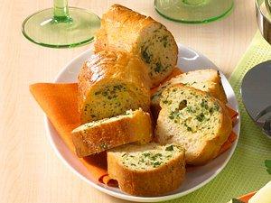 Kräuterbaguette zum Brühe-Fondue