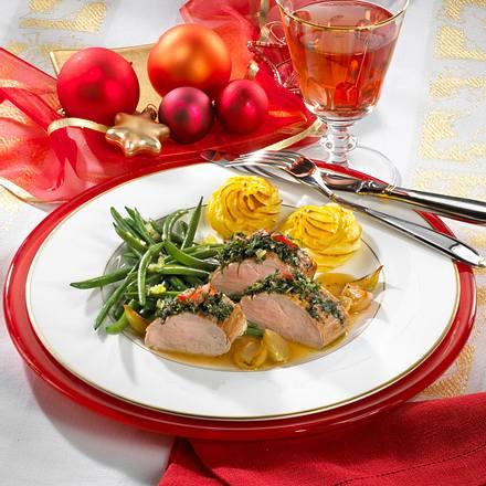 Kräuterfilet mit Bohnen & Herzogin-Kartoffeln Rezept