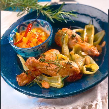 Kräuterhähnchen mit Mangochutney Rezept