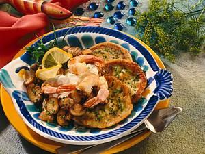 Kräuterpfannkuchen mit Scampi Rezept