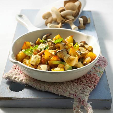 Kräuterseitlings-Pfanne mit Senfsahne Rezept