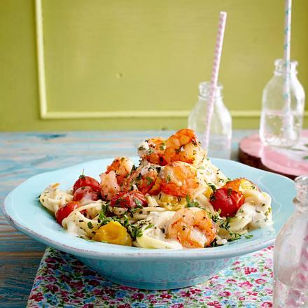 Kräuterspaghetti mit geschmorten Tomaten und Knoblauchgarnelen Rezept