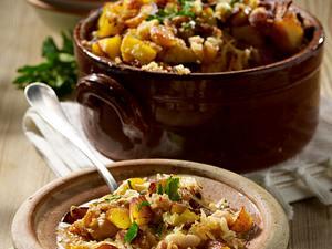 Kraut-Cassoulet mit Kartoffelcroûtons Rezept