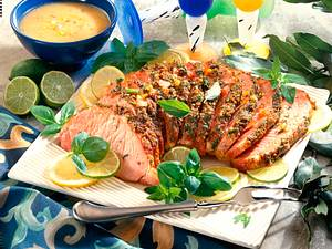 Krustenbraten mit Gemüse-Kartoffel-Vinaigrette Rezept