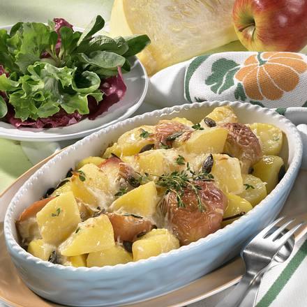 Kürbis-Apfel-Kartoffel-Gratin Rezept