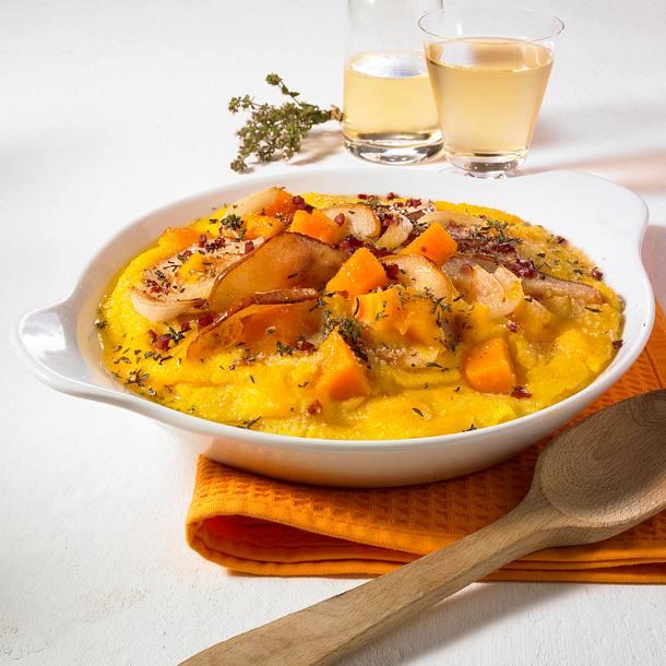Kürbis-Quiche mit Birnen und Speck Rezept