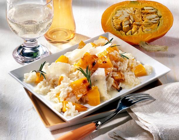 Kürbis-Risotto mit Parmesan-Hobel Rezept