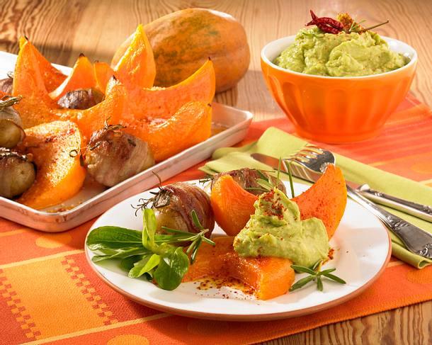 Kürbisspalten mit Kartoffeln vom Blech Rezept