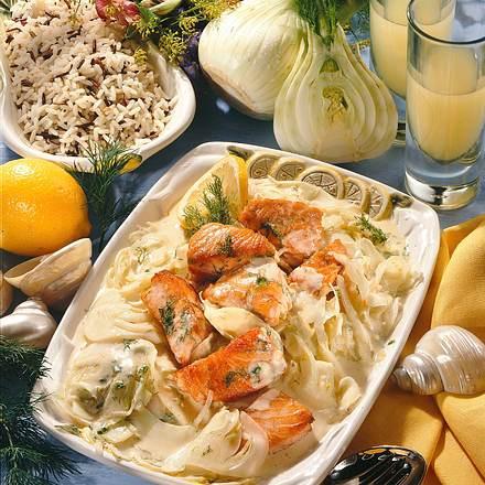 Lachs auf Fenchel-Gemüse Rezept