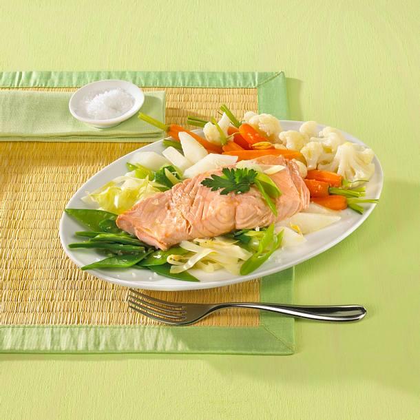 Lachs auf Ingwergemüse Rezept