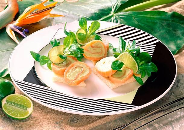 Lachs-Avocadoröllchen Rezept