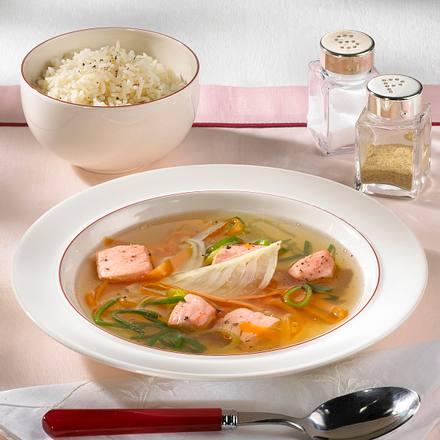 Lachs-Bouillon mit Reis Rezept