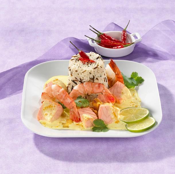Lachs-Curry mit Garnelen Rezept