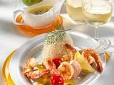 Lachs-Garnelenspieße mit Reis Rezept