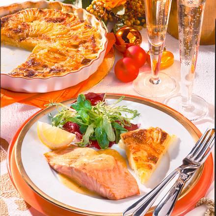 Lachs in Champagnersoße mit Kartoffelgratin Rezept