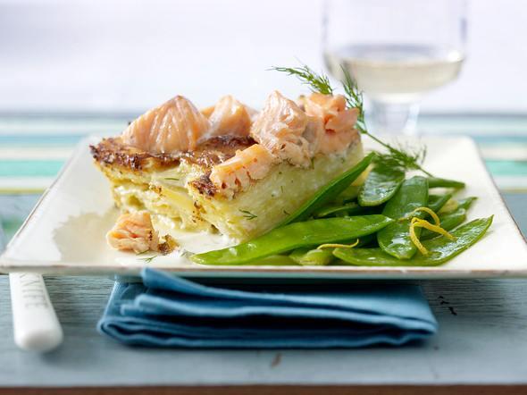Lachs-Kartoffel-Torte mit Zitronen-Zuckerschoten Rezept