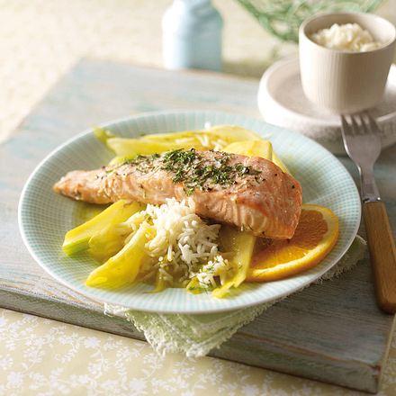 Lachs mit Dillbutter und Orangenfenchel Rezept
