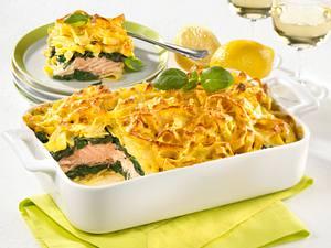 Lachs-Tagliatelle-Lasagne mit Spinat Rezept