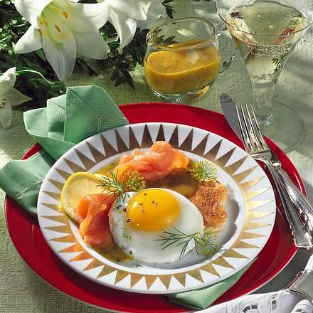 Lachs & Ei mit Senf-Honig-Soße Rezept
