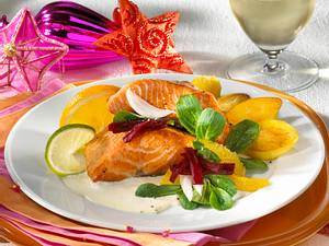 Lachsfilet mit Rote Bete-Salat und Meerrettichschaum Rezept