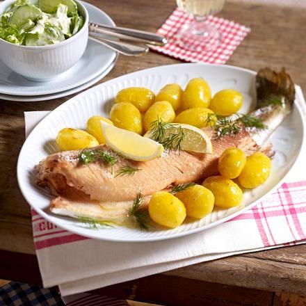 Lachsforelle aus dem Ofen mit Gurken-Schmand-Salat Rezept