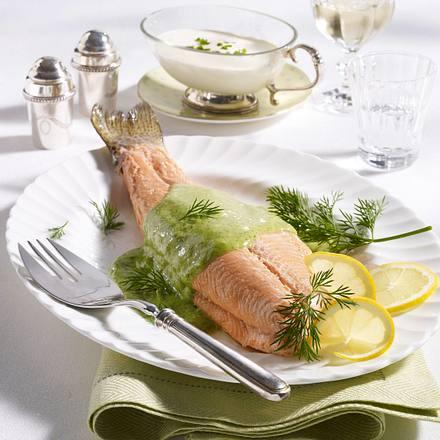 Lachsforelle mit grüner Mayonnaise und Meerrettichsoße Rezept
