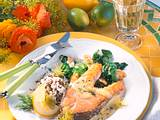Lachskotelett mit Spinat Rezept