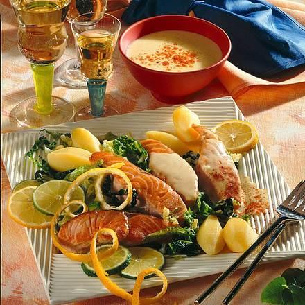 Lachsschnitten in Zitronensoße Rezept