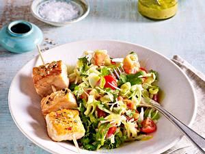 Lachsspieße auf Fenchel-Tomatensalat Rezept