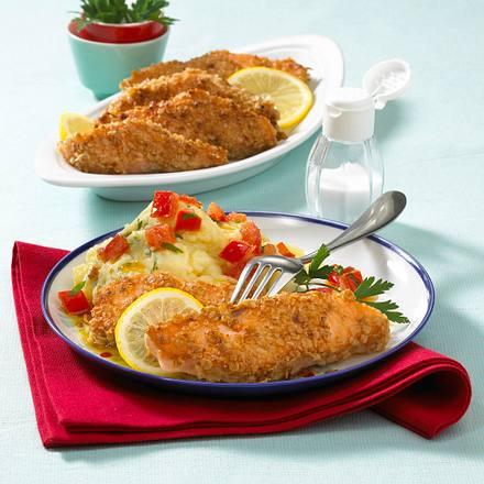 Lachsstäbchen mit Kartoffelpüree (mit Tomatenbutter) Rezept