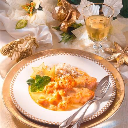 Lachstranchen mit Shrimpssoße Rezept
