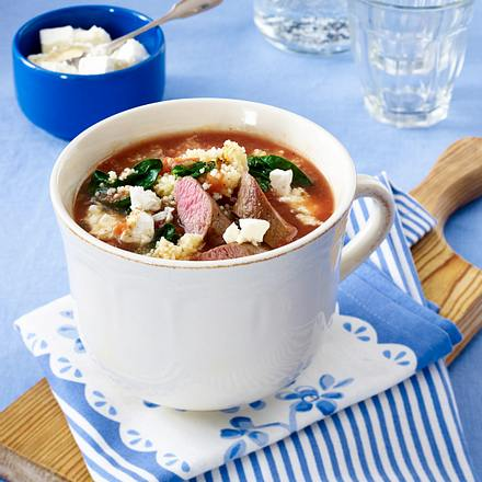 Lamm-Couscous-Suppe mit Spinat Rezept