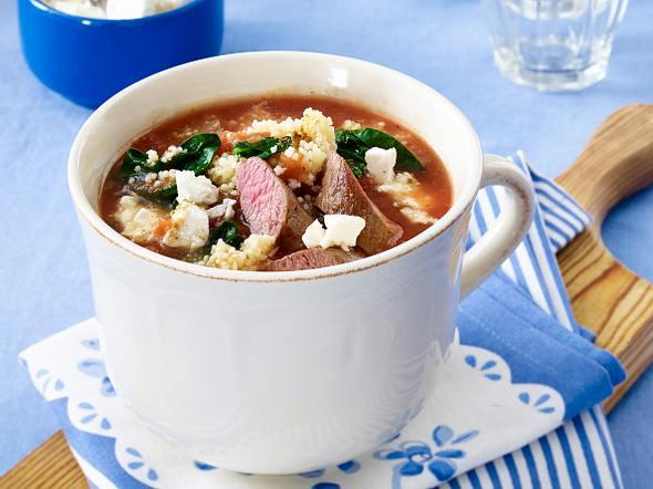 Lamm-Couscous-Suppe mit Spinat Rezept