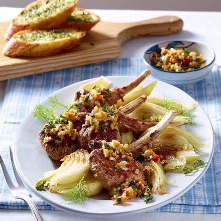 Lamm-Kotelett mit Oliven-Gremolata und Fenchelgemüse Rezept