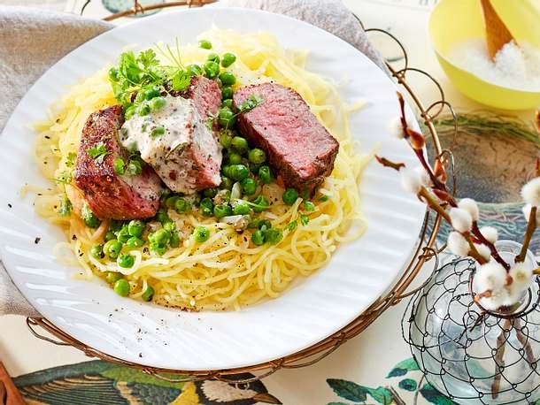 Lamm-Medaillons im Kartoffelschnee-Nest Rezept