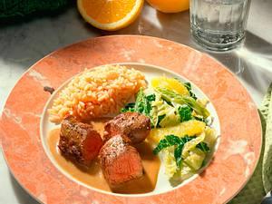 Lammfilet mit Orangen-Wirsing-Gemüse Rezept
