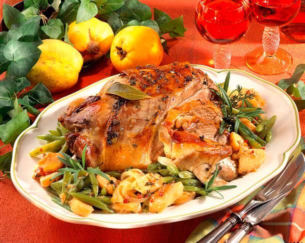 Lammkeule mit Quitten-Bohnen-Gemüse Rezept