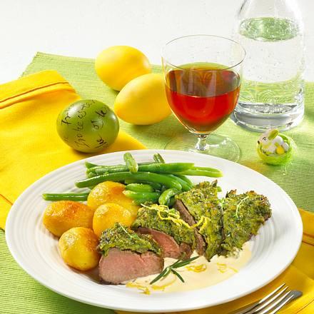 Lammlachse mit Kräuterkruste Rezept