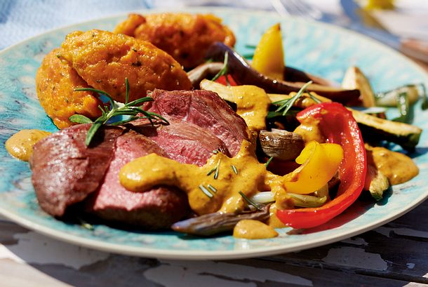 Lammsteak mit Auberginen-Gemüse-Curry Rezept