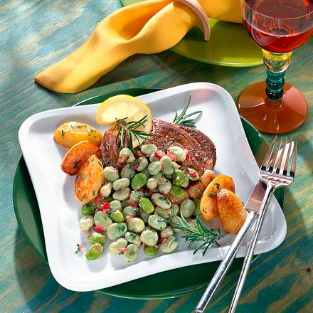 Lammsteak mit Dicke Bohnen-Salat Rezept