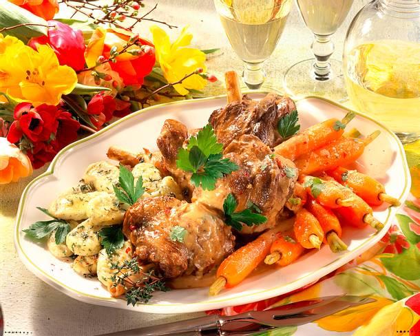 Lammstelzen mit Möhren und Gnocchi Rezept